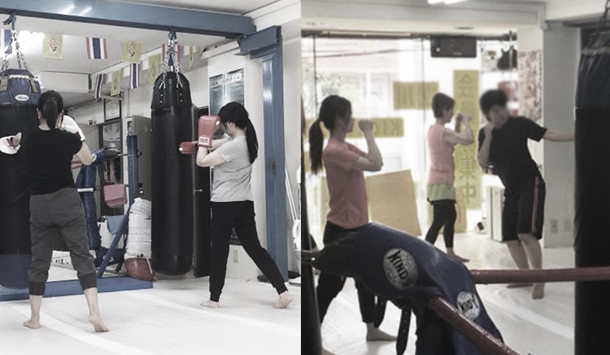 キックボクシングする女性